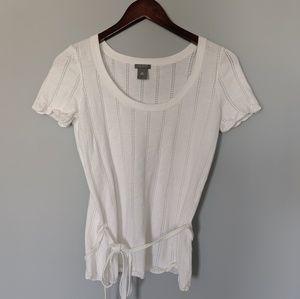Ann Taylor Scallop Short Sleeve Sweater
